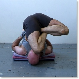 Side Embryo Pose in Shoulder Stand